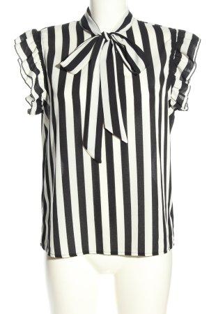 SheIn ärmellose Bluse schwarz-weiß Streifenmuster Casual-Look