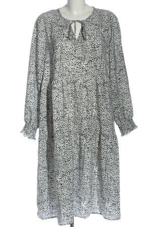 SheIn Blusenkleid weiß-schwarz Allover-Druck Casual-Look