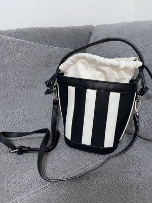Shein Bucketbag Schwarz Weiß Gestreift Beuteltasche