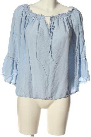 SheIn Bluzka typu carmen niebieski W stylu casual