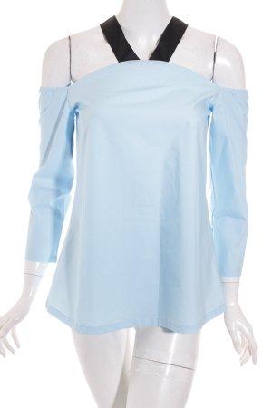 SheIn Bluzka typu carmen jasnoniebieski-czarny Wygląd w stylu miejskim