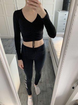 SheIn Cropped Shirt black polyester