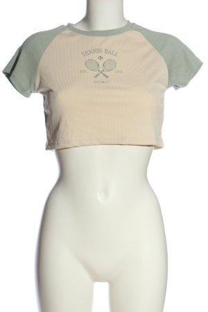 SheIn Cropped Shirt creme-khaki Motivdruck Casual-Look