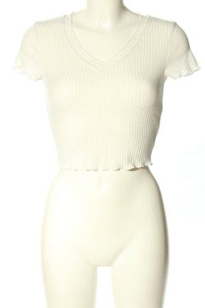 SheIn Cropped Shirt wollweiß Streifenmuster Casual-Look