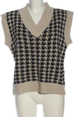 SheIn Cardigan en maille fine blanc cassé-noir motif rayé style décontracté