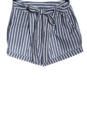 SheIn High-Waist-Shorts blue-white striped pattern casual look