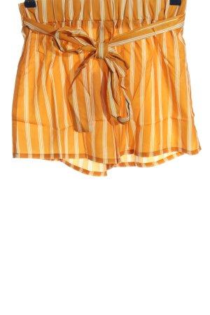 SheIn High-Waist-Shorts hellorange-weiß Streifenmuster Casual-Look