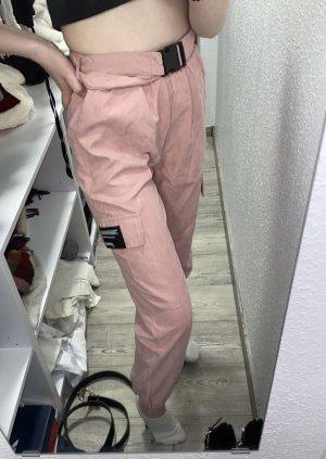 Shelnside Spodnie z wysokim stanem w kolorze różowego złota-czarny