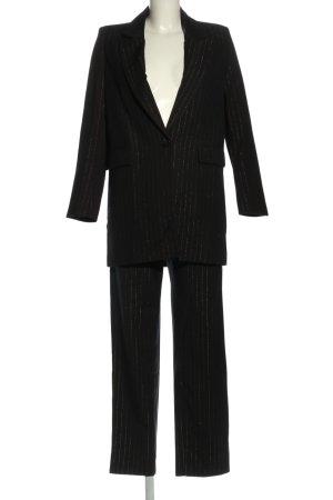 SheIn Hosenanzug schwarz-silberfarben Streifenmuster Business-Look
