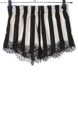 SheIn Hot Pants schwarz-weiß Allover-Druck Casual-Look