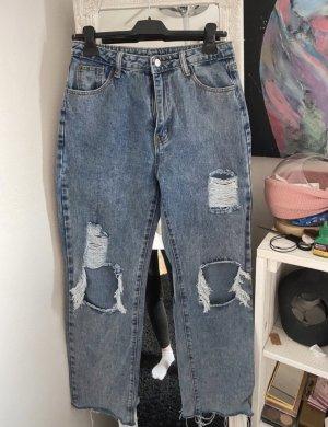 SheIn Workowate jeansy szary niebieski