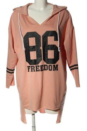 SheIn Kapuzensweatshirt pink-schwarz Schriftzug gedruckt Casual-Look