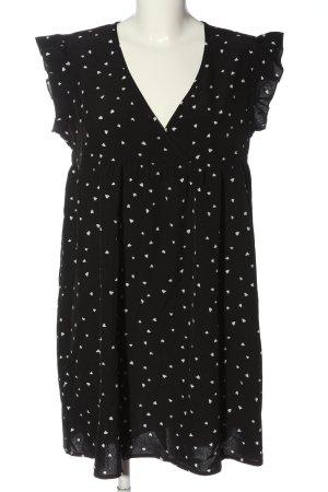 SheIn Minikleid schwarz-weiß Allover-Druck Casual-Look