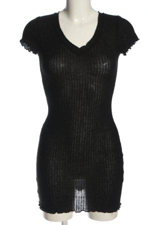 SheIn Kurzarmkleid schwarz Streifenmuster Elegant