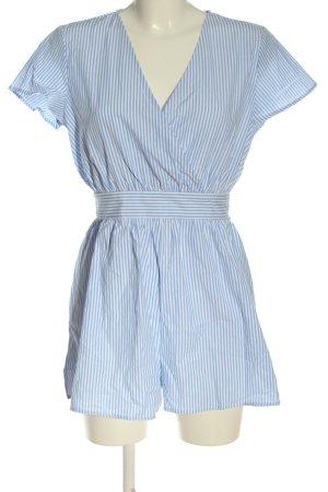 SheIn Kurzer Jumpsuit blau-weiß Streifenmuster Casual-Look