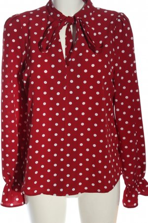 SheIn Langarm-Bluse rot-weiß Allover-Druck Casual-Look