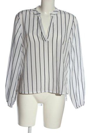 SheIn Langarm-Bluse weiß-schwarz Streifenmuster Casual-Look