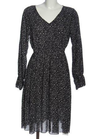 SheIn Langarmkleid schwarz-weiß abstraktes Muster Casual-Look
