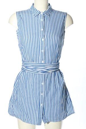 SheIn Long-Bluse blau-weiß Streifenmuster Business-Look