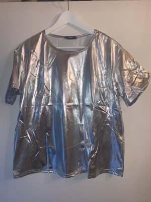 Shein Metallic Shirt Silber