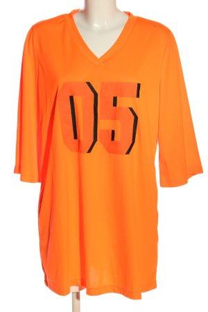 SheIn Top extra-large orange clair-noir lettrage imprimé style décontracté
