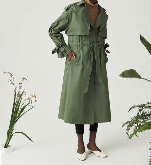 Shein Premium Mantel Trenchcoat Khaki 100% Baumwolle mit Kordelzug