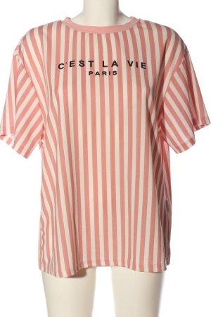 SheIn T-shirt rayé rose-blanc tissu mixte