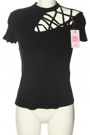 SheIn Prążkowana koszulka czarny W stylu casual