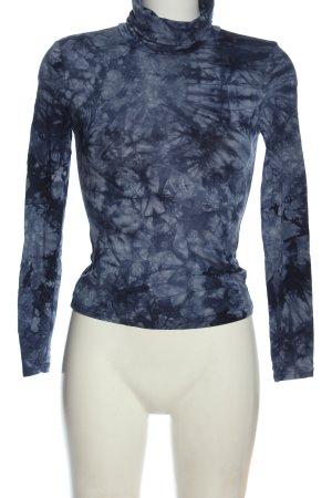 SheIn Rollkragenshirt blau-schwarz Allover-Druck Casual-Look