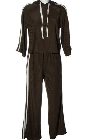 SheIn Dzianinowy podwójny zestaw  brązowy-biały W stylu casual