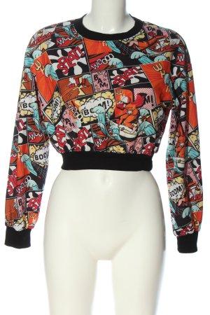 SheIn Sweatshirt schwarz-rot Motivdruck Casual-Look