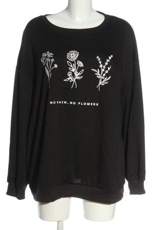 SheIn Sweatshirt schwarz Blumenmuster Casual-Look
