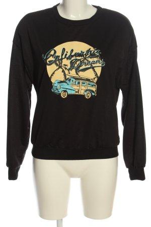 SheIn Sweatshirt zwart-sleutelbloem prints met een thema casual uitstraling