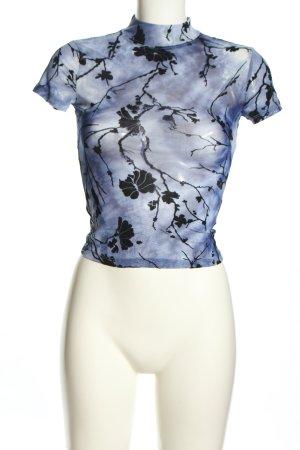 SheIn T-Shirt blau-schwarz Allover-Druck Elegant