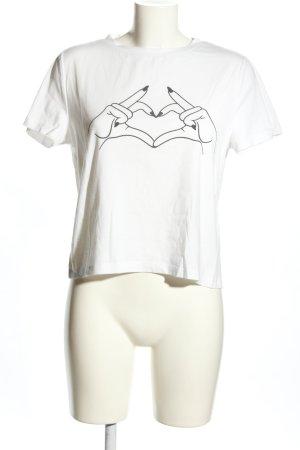 SheIn T-Shirt weiß-schwarz Motivdruck Casual-Look