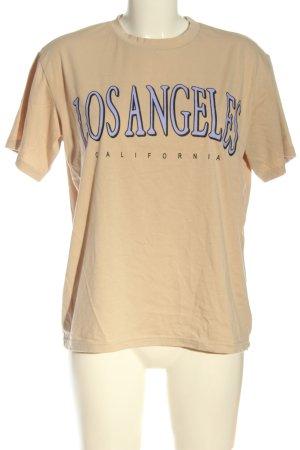 SheIn T-Shirt nude-blau Allover-Druck Casual-Look