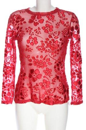 SheIn Transparenz-Bluse rot Blumenmuster Elegant