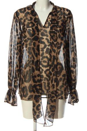 SheIn Transparenz-Bluse braun-schwarz Allover-Druck extravaganter Stil