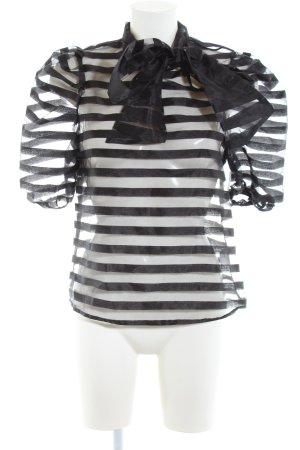 SheIn Transparenz-Bluse schwarz Streifenmuster Elegant