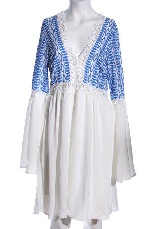 SheIn Tunikakleid weiß-blau abstraktes Muster Casual-Look