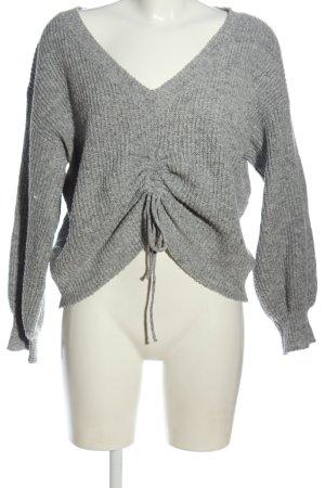 SheIn V-Ausschnitt-Pullover hellgrau meliert Casual-Look