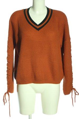SheIn V-Ausschnitt-Pullover hellorange-schwarz Casual-Look