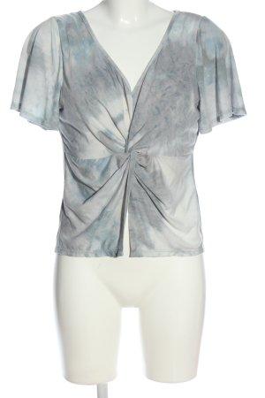 SheIn V-Ausschnitt-Shirt blau-weiß abstraktes Muster Casual-Look
