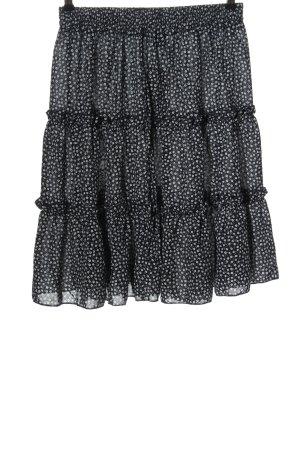 SheIn Flounce Skirt black-white allover print elegant