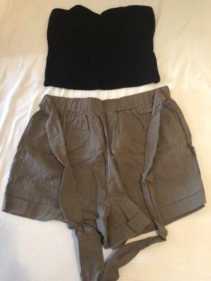 SheIn Shorts negro-caqui