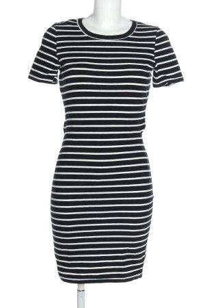 Sheinside Jerseykleid schwarz-weiß Allover-Druck Casual-Look
