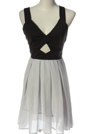 Sheinside Trägerkleid hellgrau-schwarz Elegant