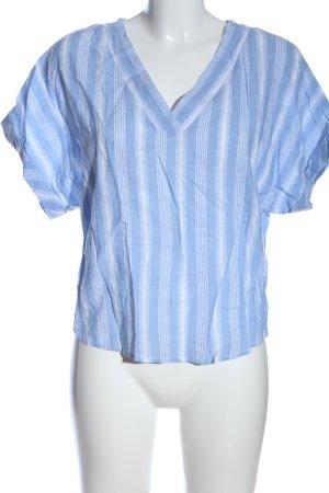 sheln Kurzarm-Bluse blau-weiß Streifenmuster Casual-Look