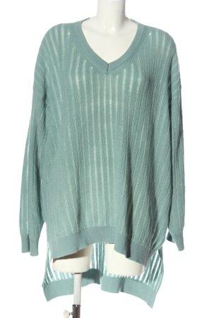 sheln V-Ausschnitt-Pullover türkis Streifenmuster Casual-Look