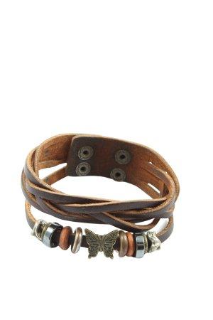 sheng tong Bracelet en cuir brun style décontracté